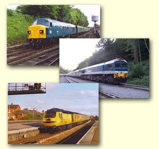 Three pictures of diesel locomotives