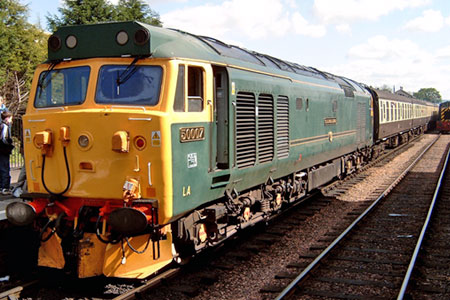 Class 50 007 Sir Edward Elgar at Bishops Lydeard.