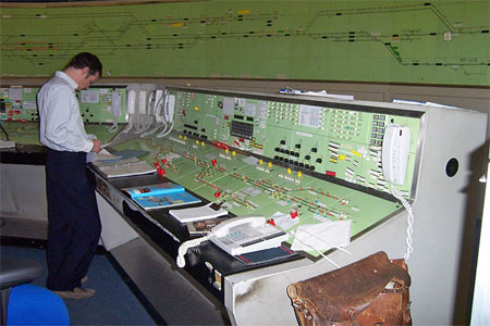 A man at work inside Westbury signal box